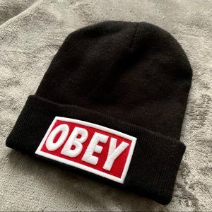 Obey | black beanie with red and white OBEY logo